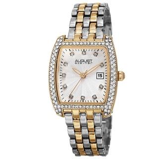 August Steiner Women's Japanese Quartz Genuine Austrian Crystals Date Indicator Bracelet Watch