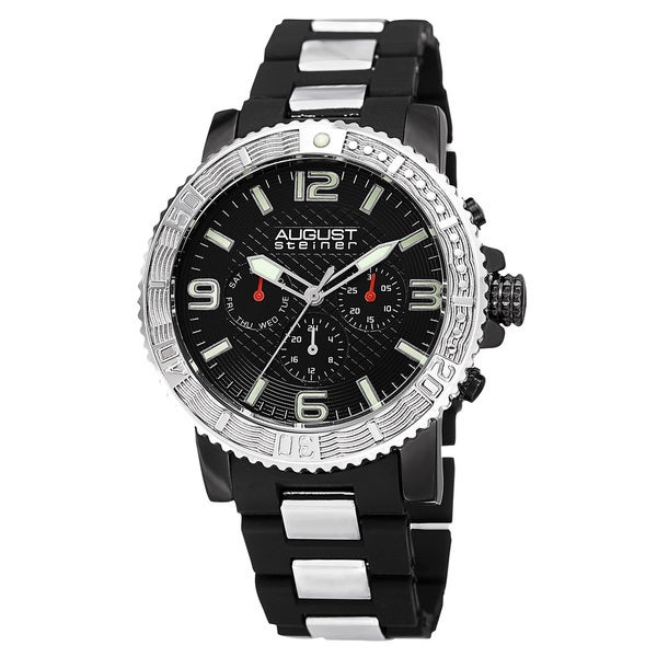 August Steiner Men's Swiss Quartz Multifunction Rotating Bezel Alloy Mid-link Bracelet Watch