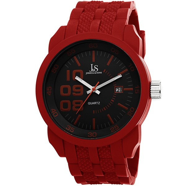 Joshua & Sons Men's Quartz Date Minute-Tracker Silicone Strap Watch