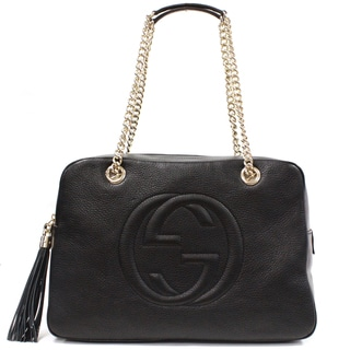 Gucci Soho Black Leather Chain Medium Shoulder Bag