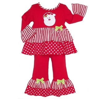 AnnLoren Girls' Stripes/ Polka Dots Santa Claus Holiday 2-piece Outfit