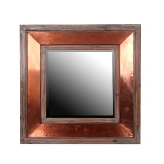Privilege Square Wood And Cooper Wall Mirror
