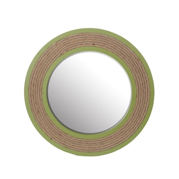 Privilege Green Straw Wooden Mirror