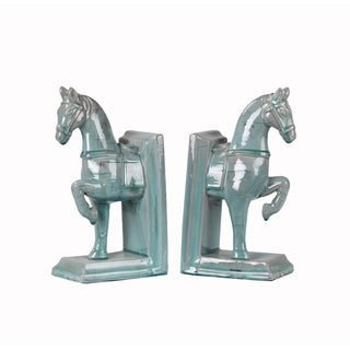 Privilege Blue 2-piece Ceramic Horse Bookends