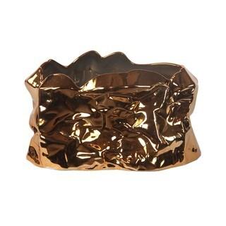 Privilege Copper Metallic Large Ceramic Bowl