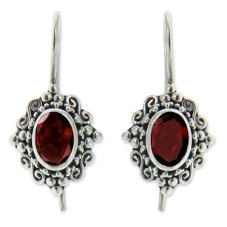 Sterling Silver 'Balinese Elegance' Garnet Earrings (Indonesia)