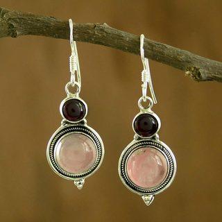 Handcrafted Sterling Silver 'Rosebud' Garnet Quartz Earrings (India)