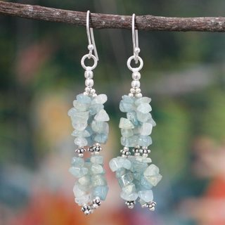 Handcrafted Sterling Silver 'Rejoice' Aquamarine Earrings (India)