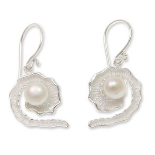 Sterling Silver 'White Passion Fruit' Pearl Earrings (7mm) (Indonesia)