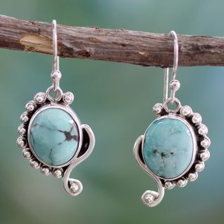 Sterling Silver 'Indian Paisley' Turquoise Earrings (India)