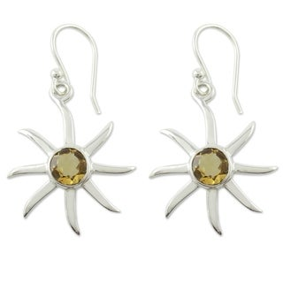 Handcrafted Sterling Silver 'Golden Sun' Citrine Earrings (India)
