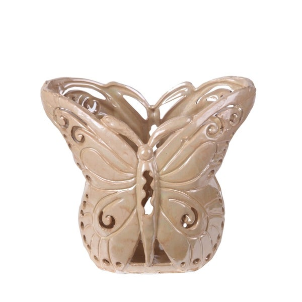 Privilege Tan Large Butterfly Ceramic Vase