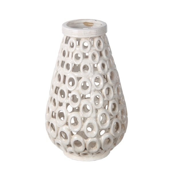 Privilege White Small Beige Cut Out Ceramic Vase