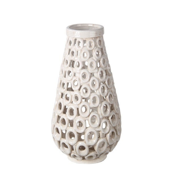 Privilege White Large Beige Cut Out Ceramic Vase