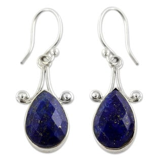 Sterling Silver 'Himalaya Muse' Lapis Lazuli Earrings '(India)