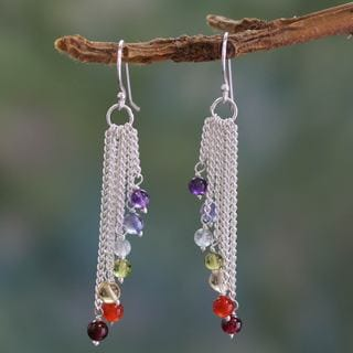 Handcrafted Sterling Silver 'Flow' Multi-gemstone Earrings(India)