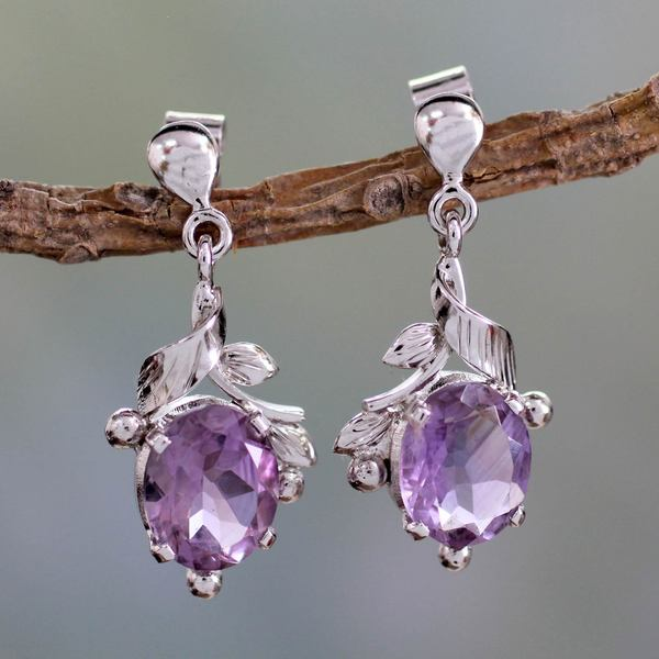 Sterling Silver 'Wisteria Bloom' Amethyst Earrings (India)