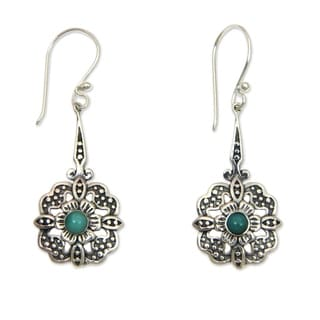 Sterling Silver 'Turquoise Rafflesia' Turquoise Earrings (Indonesia)