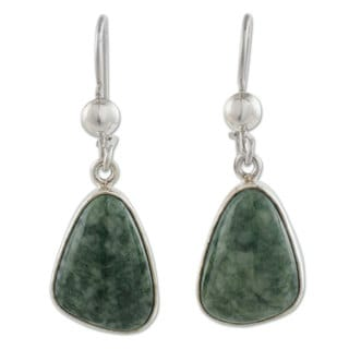 Handcrafted Sterling Silver 'Forest Green' Jade Earrings (Guatemala)