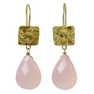 Handcrafted Gold Overlay 'Icy Pink' Chalcedony Earrings (Thailand)