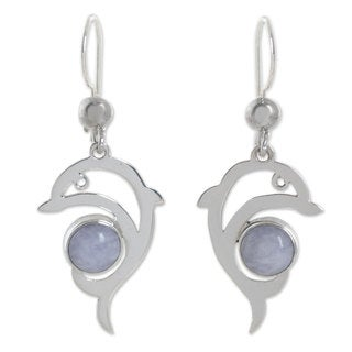 Handcrafted Sterling Silver 'Lilac Dolphin' Jade Earrings (Guatemala)
