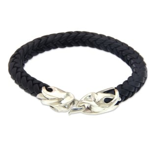 Men's Leather Sterling Silver 'Tribal Strength' Bracelet (Indonesia)