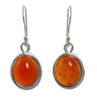 Sterling Silver 'Western Sunset' Carnelian Earrings (Thailand)