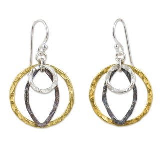 Gold Overlay Sterling Silver 'Equilibrium' Earrings (Thailand)