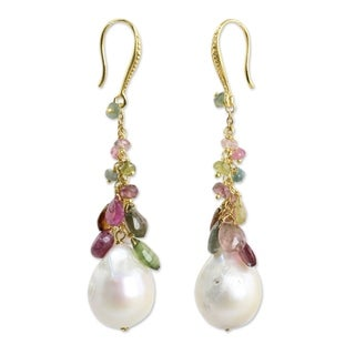 Gold Overlay 'Rainbow' Pearl Tourmaline Earrings (14.5 mm) (Thailand)