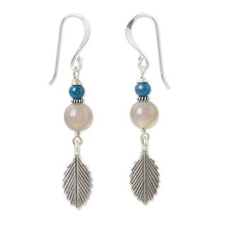 Handcrafted Silver 'Leaf Waltz' Chalcedony Kyanite Earrings (Thailand)
