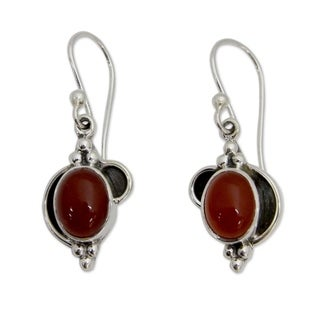 Sterling Silver 'Solar Charm' Carnelian Earrings (India)
