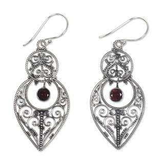 Sterling Silver 'Majapahit Glory' Garnet Earrings (Indonesia)