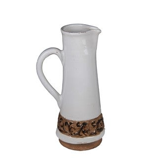 Privilege White/ Brown Large Ceramic Pitcher with Handle