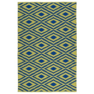 Indoor/Outdoor Laguna Yellow and Navy Ikat Flat-Weave Rug (9'0 x 12'0)