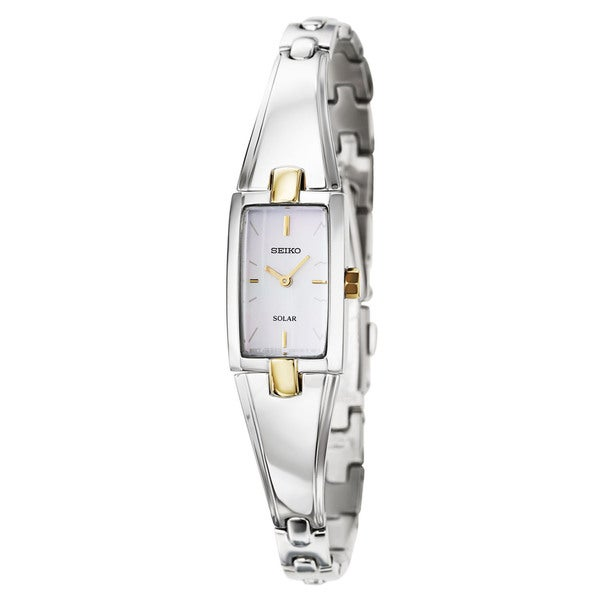 Seiko Women's 'Core' Stainless Steel and Yellow Gold Plated Solar Powered Quartz Watch