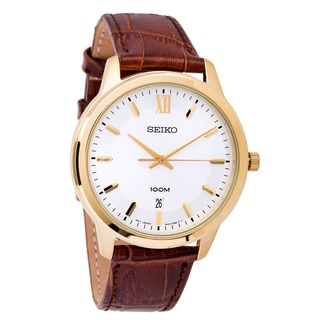 Seiko Men's 'Strap' SUR046 Stainless Steel Yellow Gold Plated Quartz Watch