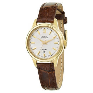 Seiko Women's 'Strap' Stainless Steel Yellow Gold Plated Quartz Watch