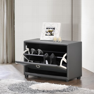 Petito Contemporary 1-Tier Grey Faux Leather Upholstered Shoe Cabinet