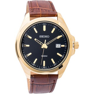 Seiko Men's 'Dress' SUR078 Stainless Steel Yellow Gold Plated Quartz Watch