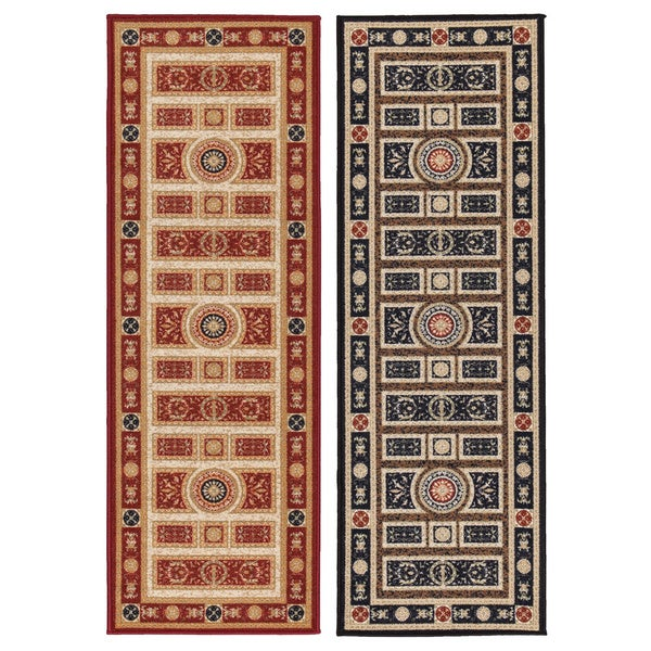 Prestige Collection Red Traditional European Design Runner Rug (1'8 x 4'11)