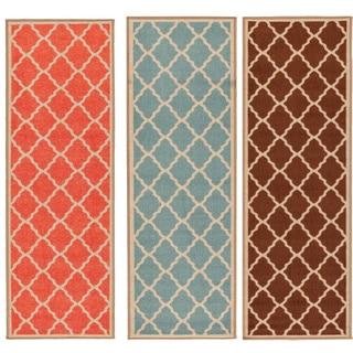 Prestige Collection Orange Contemporary Moroccan Trellis Design Runner Rug (1'8 x 4'11)