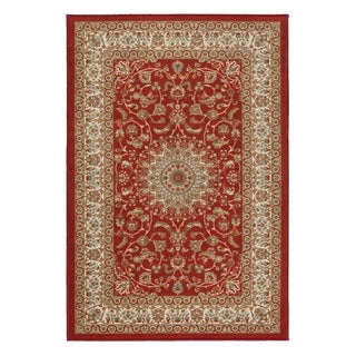 Prestige Collection Red Traditional Medallion Design Area Rug (3'3 x 5'0)
