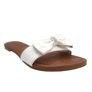 Olivia Miller Women's 'Holly' Bow Rhinestone Slide Sandals