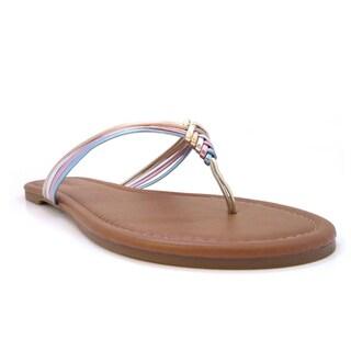 Olivia Miller Women's 'Skyler' Multi Metallic Strap Sandals