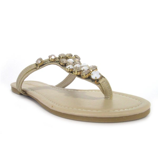 Olivia Miller Women's 'Sadie' Multi Embellished Stones Sandals