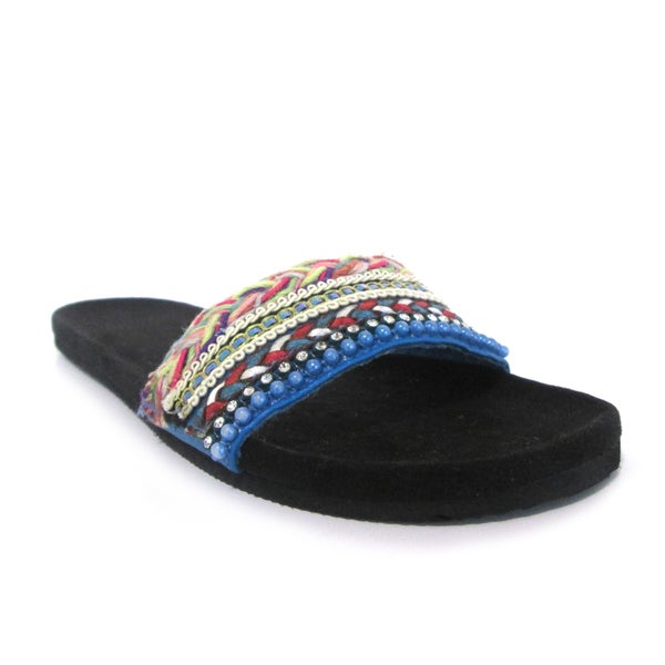 Olivia Miller Women's 'Ami' Multi Color Rhinestone Beaded Slide Sandals