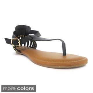 Olivia Miller Women's 'Bijou' Caged Back Studded Gladiator Sandals