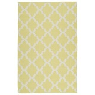 Indoor/Outdoor Laguna Yellow and Ivory Trellis Flat-Weave Rug (5' x 7'6)