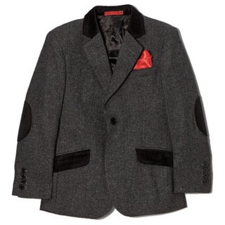 Boys' Wool Blend Herringbone Black Jacket