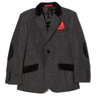 Boys' Wool Blend Herringbone Black Jacket